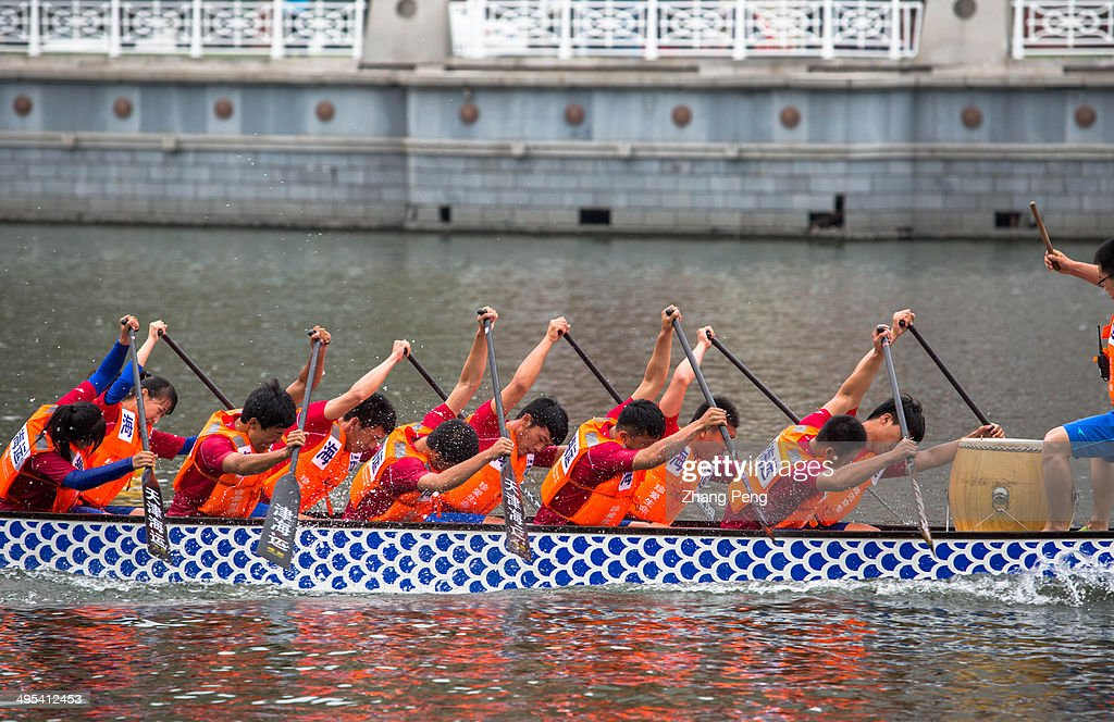 Dragon boat racing is an ancient team paddling sport which originated in China. Every year, citizens of Tianjin hold a grand dragon boat competition on the Haihe river during the Chinese traditional Duanwu festival (also called Dragon boat festival, which is the 5th day of the 5th month of the traditional lunar calendar). The festival is supposed to commemorate a great ancient poet Quyuan. Three of the most widespread activities for Duanwu Festival are eating zongzi, drinking realgar wine, and racing dragon boats.