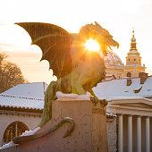 Famous Dragon bridge or Zmajski most, symbol of Ljubljana, capital of Slovenia, Europe.