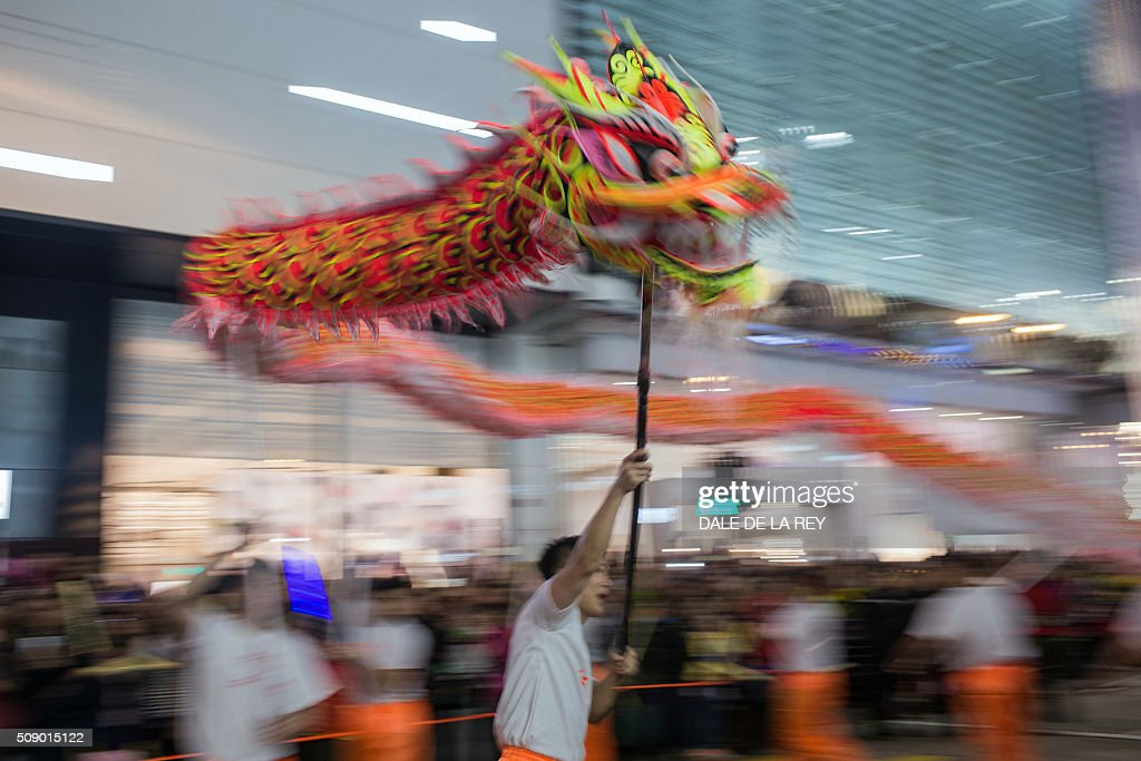 A dragon dance team performs during a Lunar New Year parade in Hong Kong on February 8, 2016. The Lunar New Year of the Monkey begins on February 8. AFP PHOTO / DALE DE LA REY / AFP / DALE de la REY