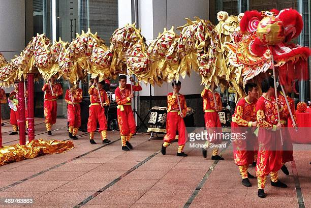 Dragon Dancers prepare to start a celebration in central Hong Kong