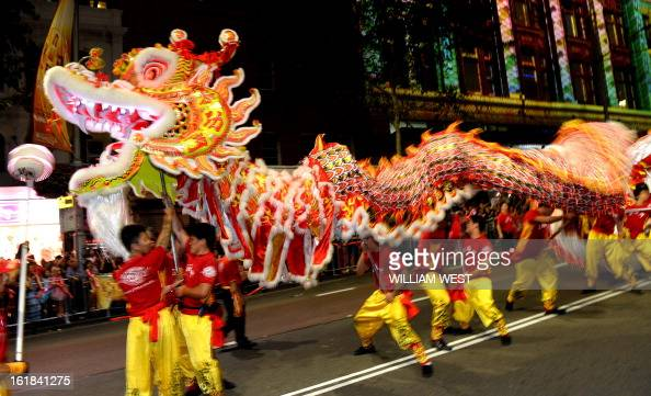 A dragon entertains the crowds at the chinese new year for Chinese new years parade