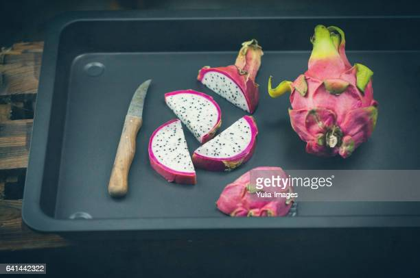 Dragon fruit on baking pan