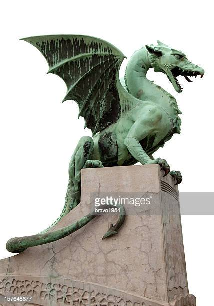 Dragon gargoyle standing over a gray structure in Ljubljana