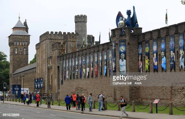 A dragon holding a UEFA Champions League trophy on top of Cardiff Castle prior to the UEFA Champions League Final between Juventus and Real Madrid on...