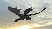 Dragon in flight on sky background