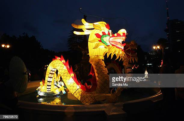 A dragon lantern is displayed in a fountain during Auckland Lantern Festival at Albert Park on February 22 2008 in Auckland New Zealand The lantern...