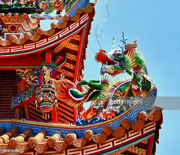 Dragon statue on traditional Taoist temple, Taiwan, Republic of China