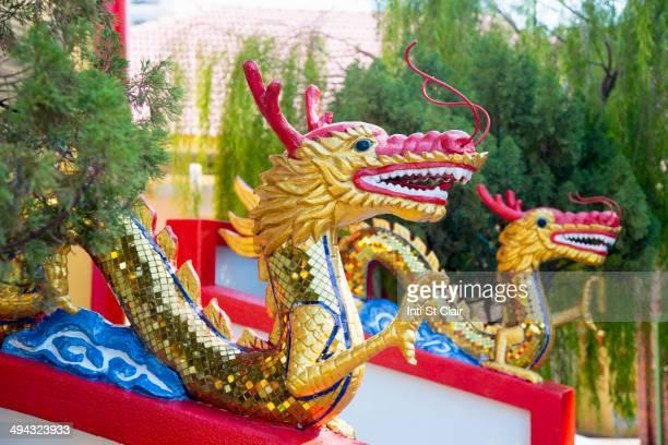 Dragon statues outside Dhammikarama Burmese temple, George Town, Penang, Malaysia