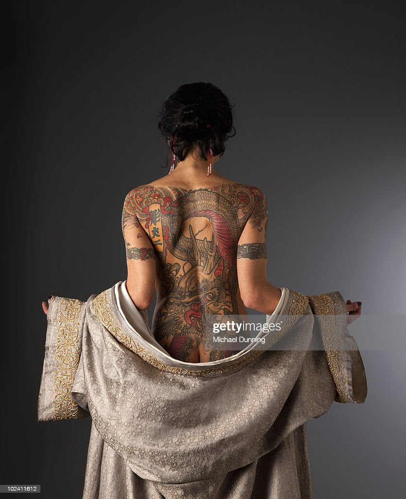 dragon tattoo lady stock photo getty images