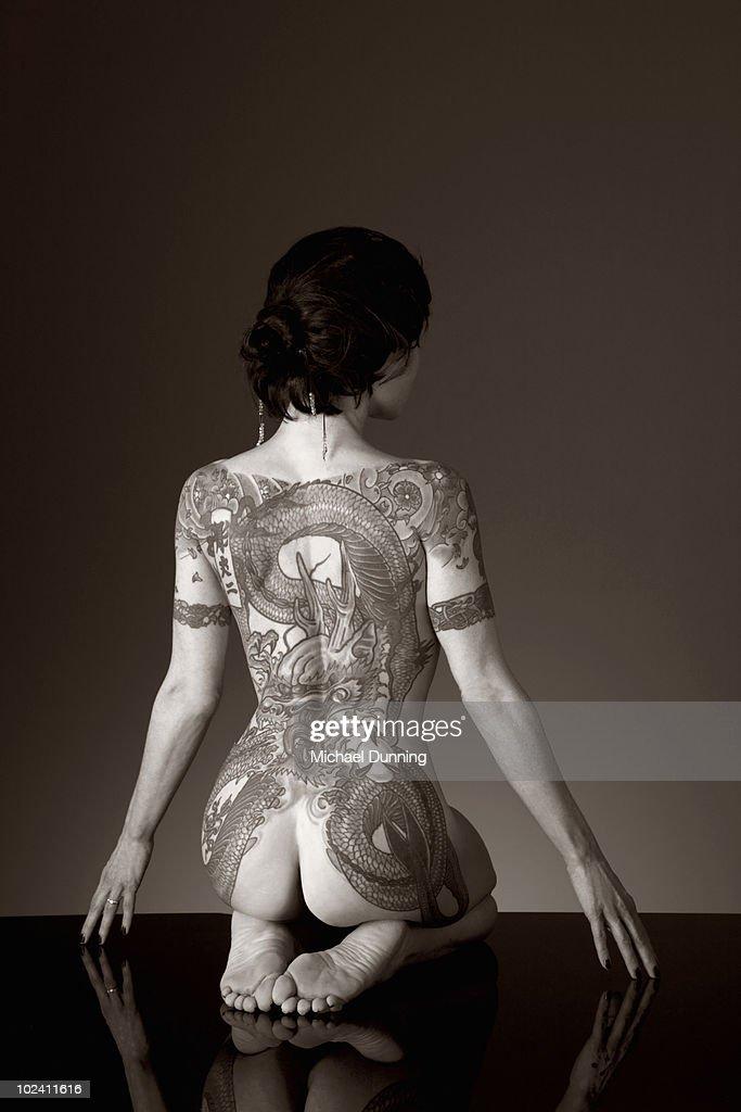 Dragon Tattoo Lady : Stock Photo