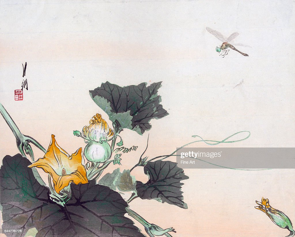 Dragonfly and a Pumpkin Blossom Circa 1900 Color woodcut 247 x 303 cm Private collection