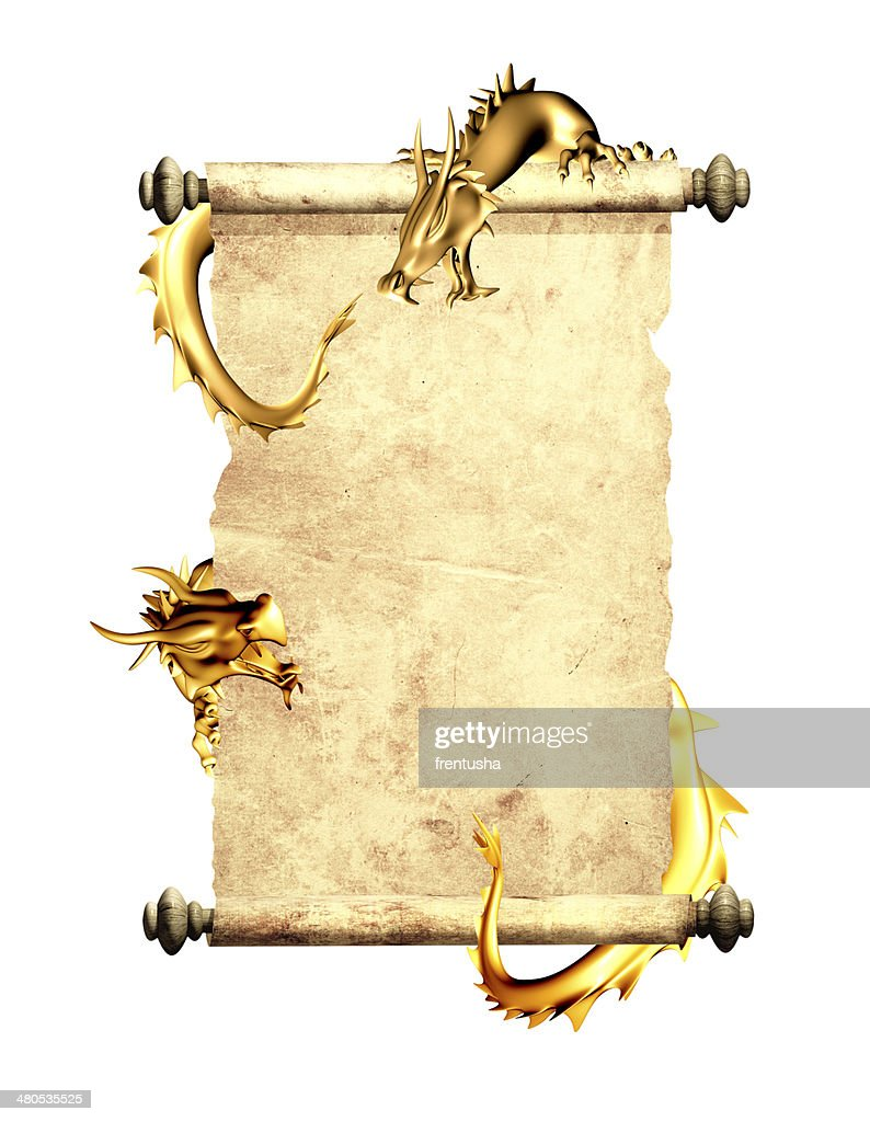 Dragons and scroll of old parchment : Stockfoto