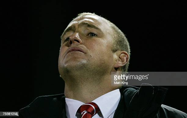Dragons coach Nathan Brown looks on during the round 19 NRL match between the Penrith Panthers and the St George Illawarra Dragons at CUA Stadium...
