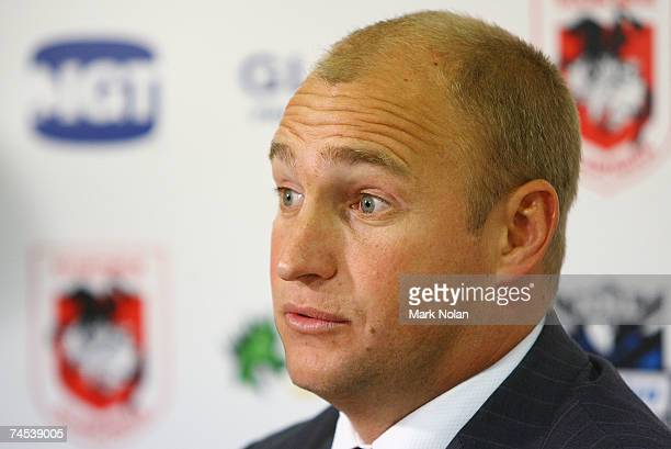 Dragons coach Nathan Brown speaks to the media in a post match press conference after the round 13 NRL match between the St George Illawarra Dragons...
