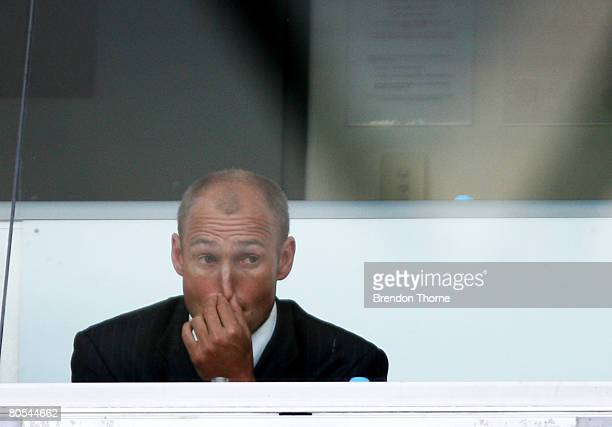 Dragons coach Nathan Brown watches the match from the coaches box during the round four NRL match between the St George Illawarra Dragons and the...