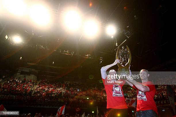 Dragons coach Wayne Bennett and captain Ben Hornby hold up the NRL trophy during the St George Illawarra Dragons NRL Grand Final Reception at the WEC...
