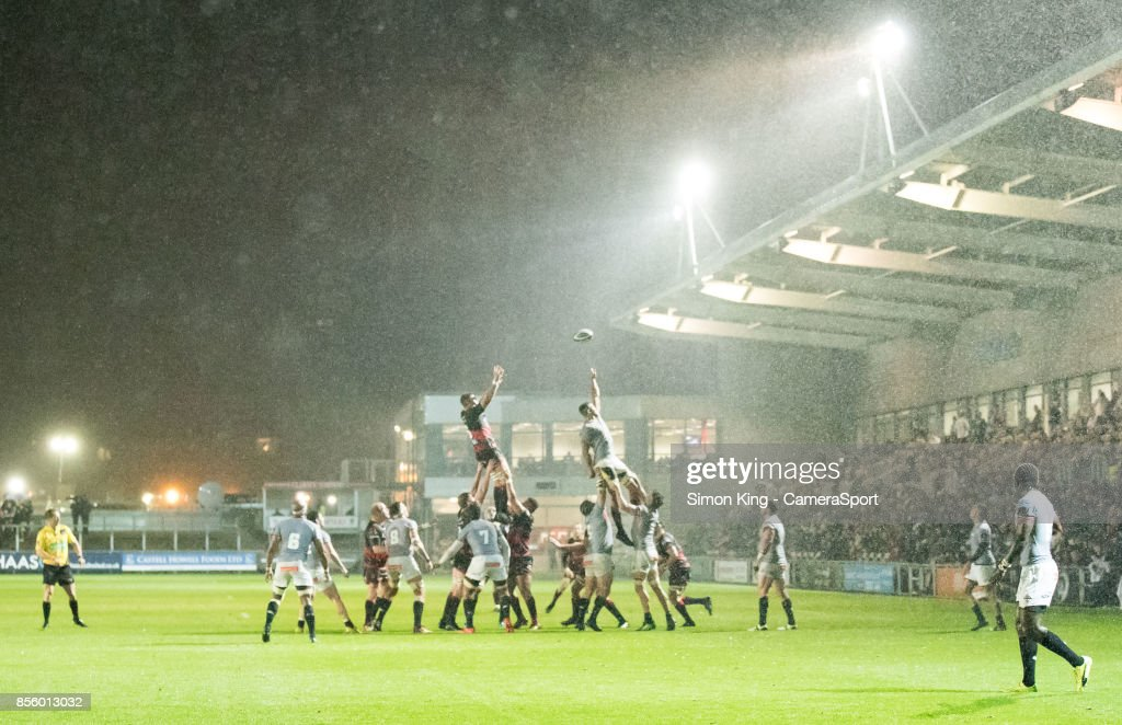 Dragons' Cory Hill claims the lineout during the Guinness Pro14 Round 5 match between Dragons and Southern Kings at Rodney Parade on September 30, 2017 in Newport, Wales.