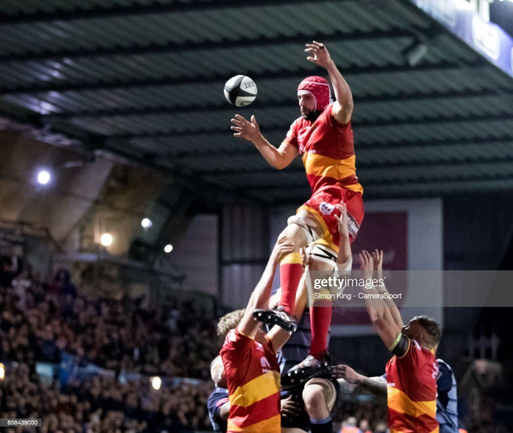 Dragons' Cory Hill claims the lineout during the Guinness Pro14 Round 6 match between Cardiff Blues and Dragons on October 6, 2017 at Cardiff Arms Park in Cardiff, Wales.