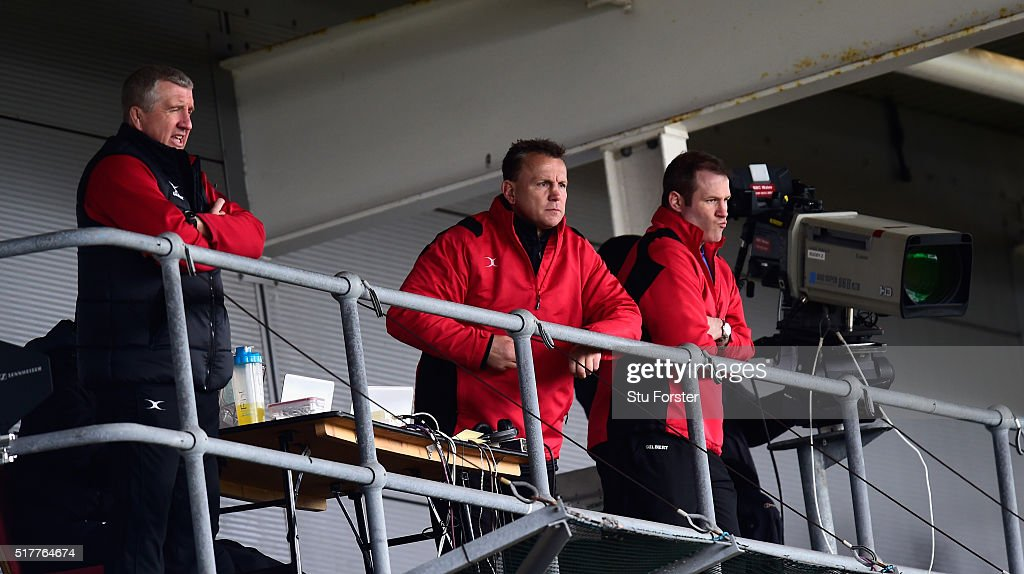 Dragons head coach Kinglsey Jones looks on during the Guinness Pro 12 match between Newport Gwent Dragons and Edinburgh Rugby at Rodney Parade on...