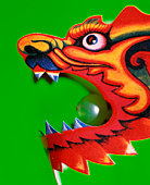 Dragon's head with grape in mouth