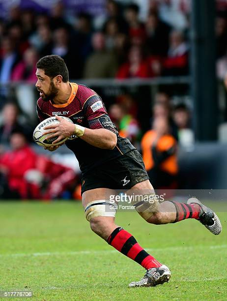 Dragons player Taulupe Faletau in action during the Guinness Pro 12 match between Newport Gwent Dragons and Edinburgh Rugby at Rodney Parade on March...