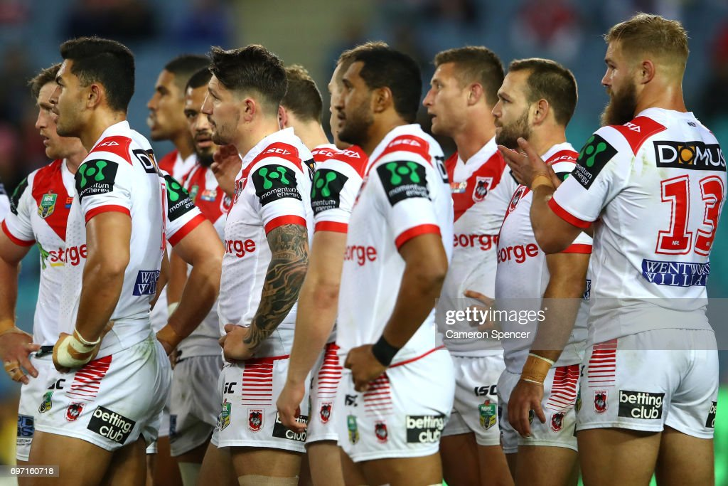 Dragons players look dejected during the round 15 NRL match between the Parramatta Eels and the St George Illawarra Dragons at ANZ Stadium on June 18, 2017 in Sydney, Australia.