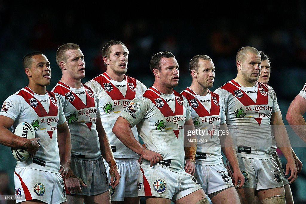 Dragons players look on after a Tigers try during the round 23 NRL match between the Wests Tigers and the St George Illawarra Dragons at Allianz Stadium on August 11, 2012 in Sydney, Australia.