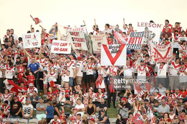 Dragons supporters cheer during the round four NRL match between the St George Illawarra Dragons and the New Zealand Warriors at UOW Jubilee Oval on...
