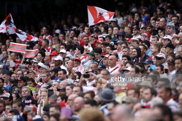 Dragons supporters in the crowd hold up banners and wave flags as they cheer during the round eight NRL match between the Sydney Roosters and the St...