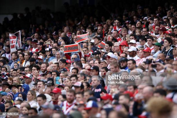 Dragons supporters in the crowd hold up banners as they cheer during the round eight NRL match between the Sydney Roosters and the St George...