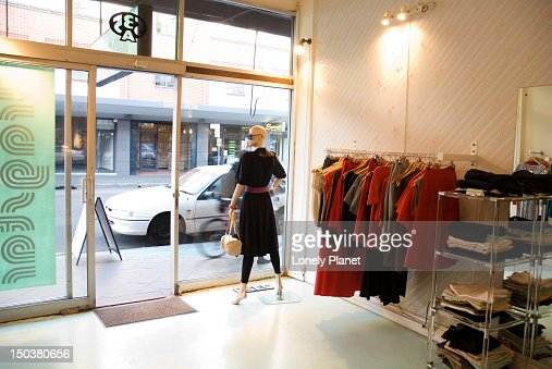 Dragster clothes shop, Newtown. : Stock Photo