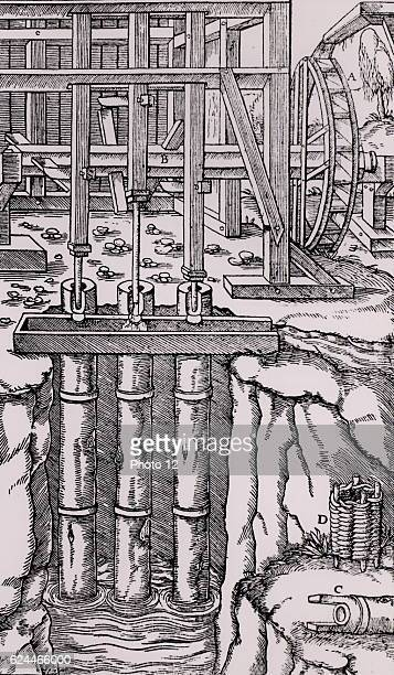 Draining mine workings by means of a battery of three pumps The axle B is powered by an overshot water wheel The cams on the axle raise and lower the...