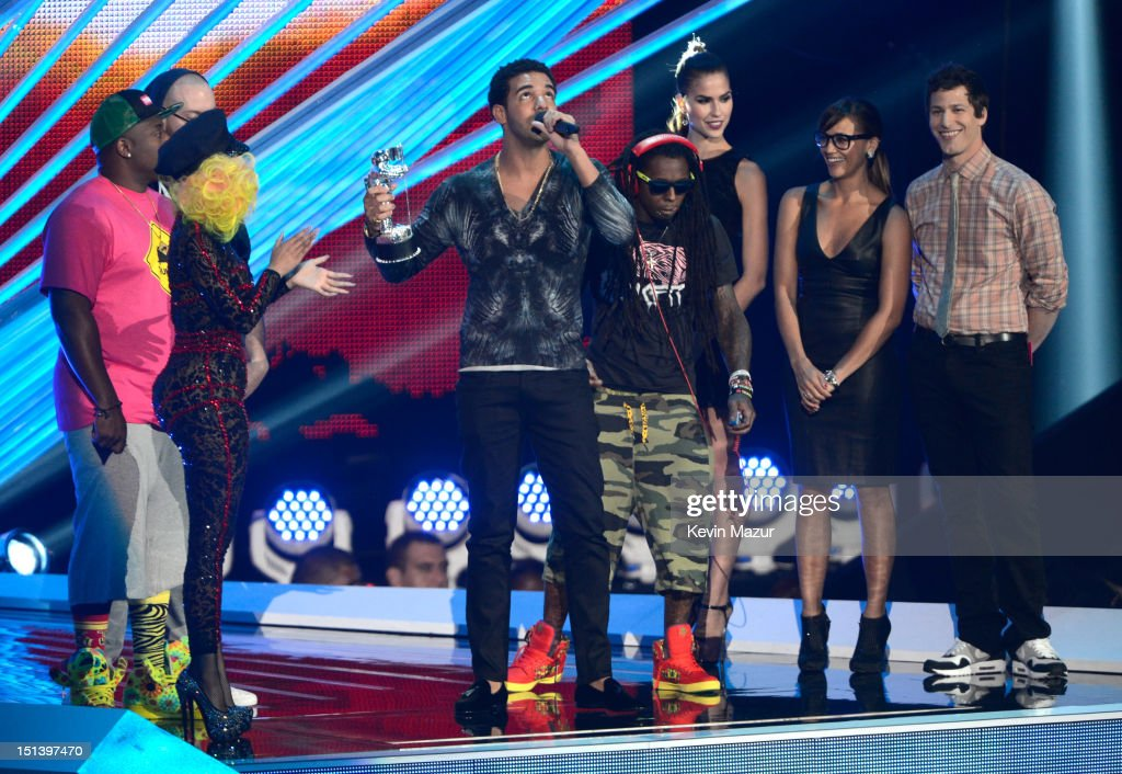 Drake accepts award onstage during the 2012 MTV Video Music Awards at Staples Center on September 6, 2012 in Los Angeles, California.