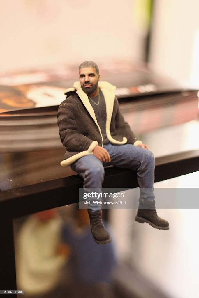 A Drake action figure is displayed in the BETX gifting suite during the 2016 BET Experience on June 25, 2016 in Los Angeles, California.