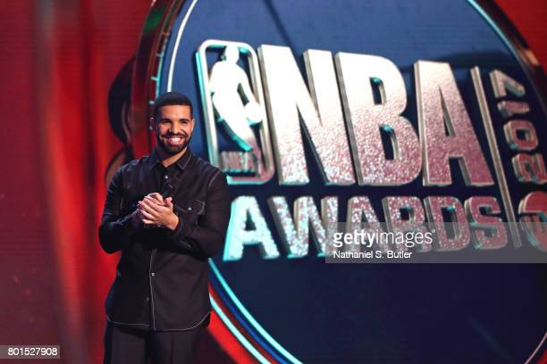 Drake address the audience at the NBA Awards Show on June 26 2017 at Basketball City at Pier 36 in New York City New York NOTE TO USER User expressly...