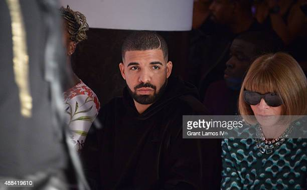 Drake and Anna Wintour attend the Serena Williams Signature Statement by HSN  show during Spring 2016 Style360 on September 15 2015 in New York City