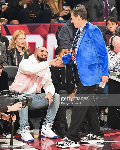 Drake and Craig Sager attend the 2016 NBA AllStar Saturday Night at Air Canada Centre on February 13 2016 in Toronto Canada