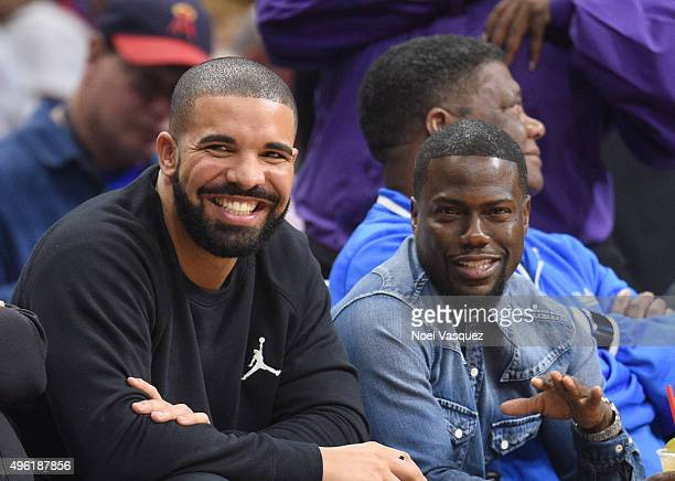 Drake and Kevin Hart attend a basketball game between the Houston Rockets and the Los Angeles Clippers at Staples Center on November 7 2015 in Los...