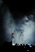 Drake and Lil Wayne perform at First Midwest Bank Amphitheatre on August 10 2014 in Tinley Park Illinois