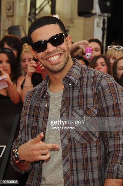 Drake arrives on the red carpet of the 20th Annual MuchMusic Video Awards at the MuchMusic HQ on June 21 2009 in Toronto Canada