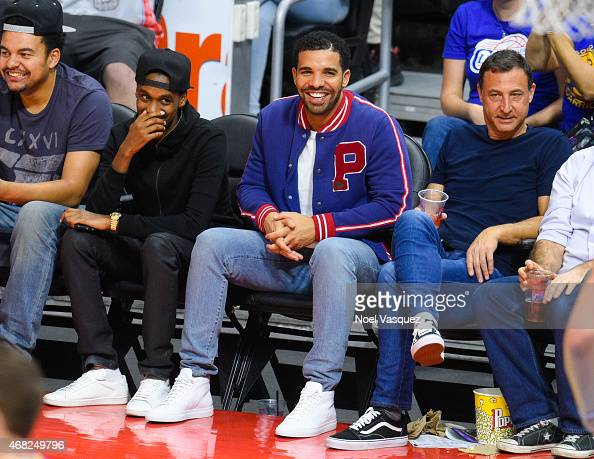 Drake attends a basketball game between the Golden State Warriors and the Los Angeles Clippers at Staples Center on March 31 2015 in Los Angeles...