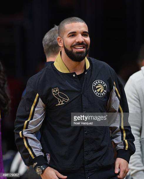 Drake attends a basketball game between the Toronto Raptors and the Los Angeles Lakers at Staples Center on November 20 2015 in Los Angeles California