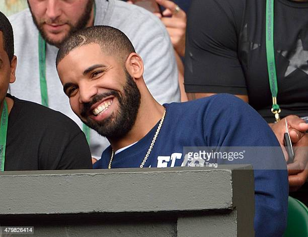 Drake attends day eight of the Wimbledon Tennis Championships at Wimbledon on July 7 2015 in London England