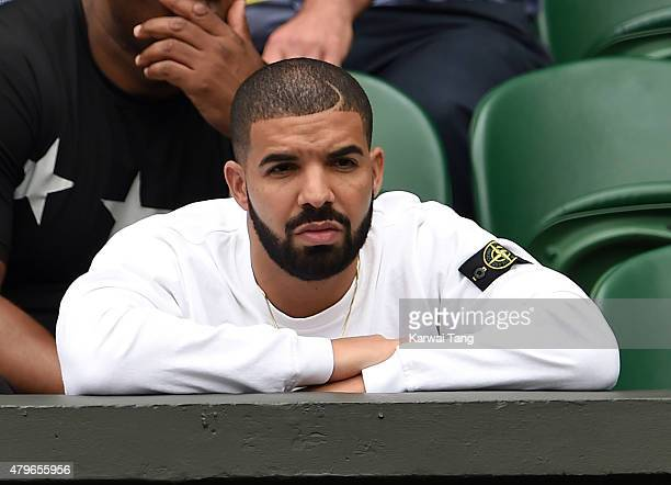 Drake attends day seven of the Wimbledon Tennis Championships at Wimbledon on July 6 2015 in London England