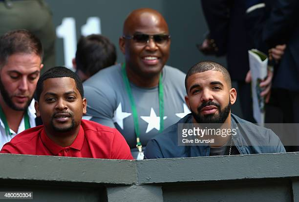 Drake attends day ten of the Wimbledon Lawn Tennis Championships at the All England Lawn Tennis and Croquet Club on July 9 2015 in London England