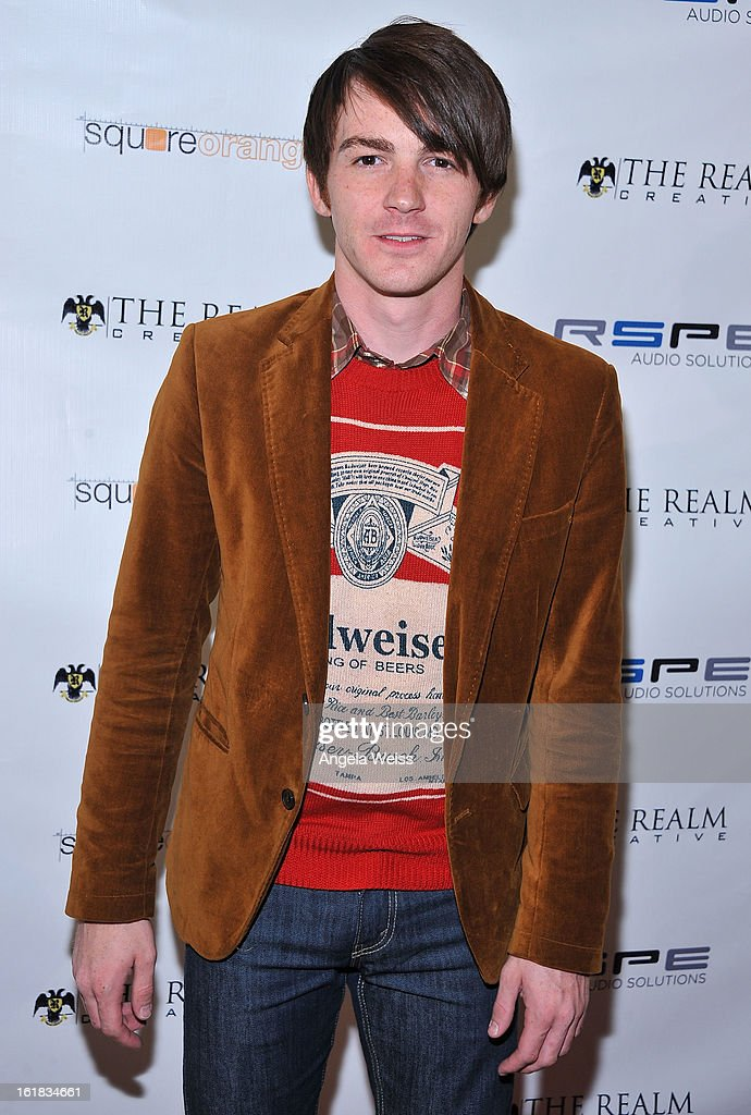 <a gi-track='captionPersonalityLinkClicked' href=/galleries/search?phrase=Drake+Bell&family=editorial&specificpeople=215051 ng-click='$event.stopPropagation()'>Drake Bell</a> attends The Realm Creative red carpet premier party on February 16, 2013 in Los Angeles, California.