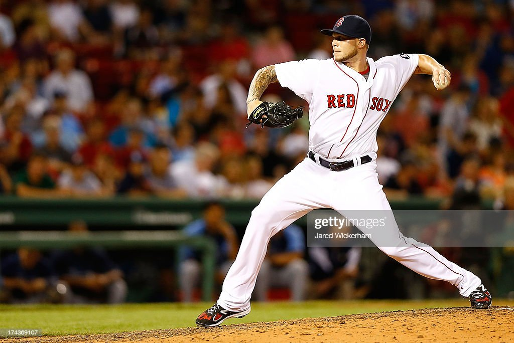 Drake Britton #66 of the Boston Red Sox pitches against the Tampa Bay Rays during the game on July 24, 2013 at Fenway Park in Boston, Massachusetts.