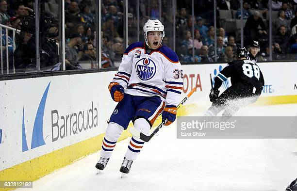 Drake Caggiula of the Edmonton Oilers celebrates after scoring on Martin Jones of the San Jose Sharks at SAP Center on January 26 2017 in San Jose...