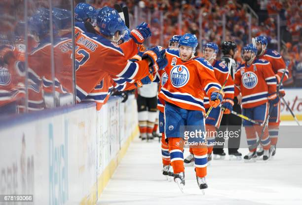 Drake Caggiula of the Edmonton Oilers celebrates his gametying goal against the Anaheim Ducks in Game Four of the Western Conference Second Round...