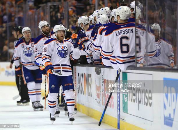 Drake Caggiula of the Edmonton Oilers celebrates his goal against the Anaheim Ducks in Game Seven of the Western Conference Second Round during the...